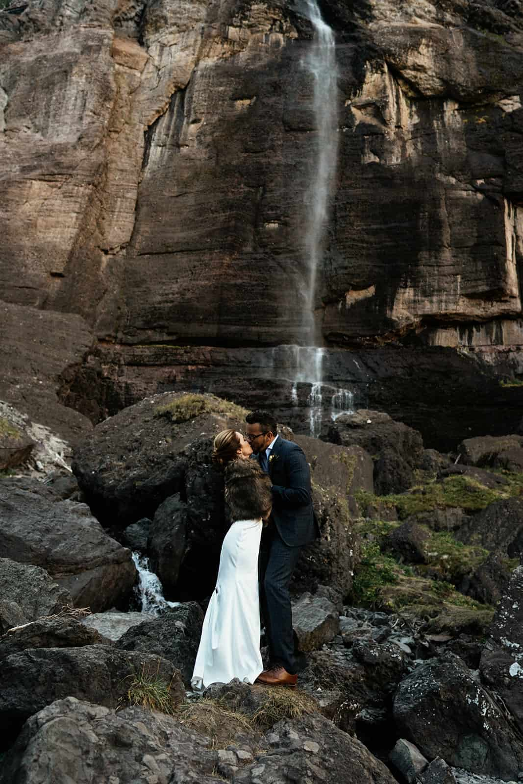 couple eloping at bridal veil falls in Telluride colorado