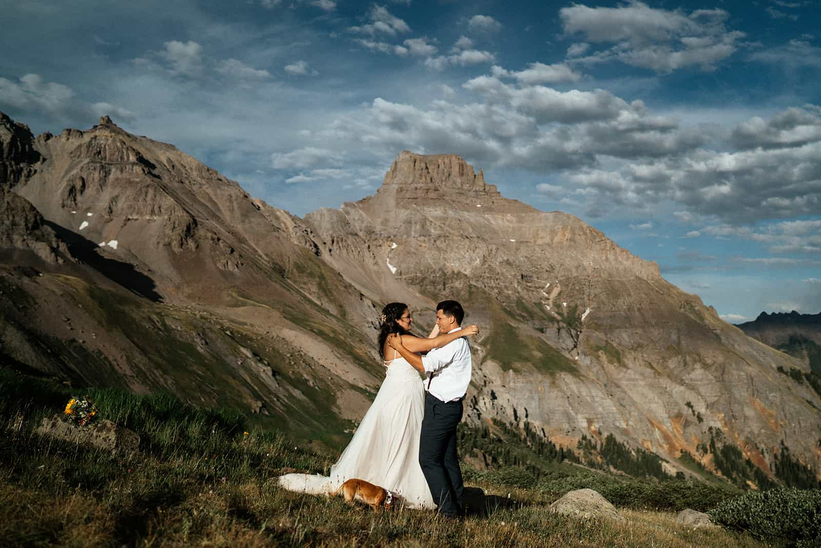 couple dancing on mountain at Colorado elopement