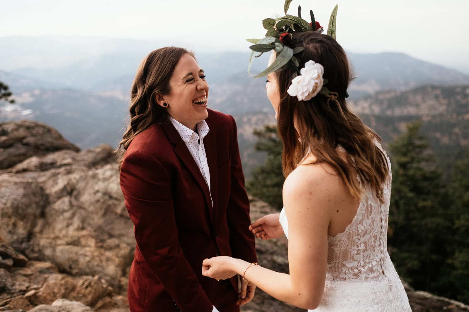 two brides doing first look at Colorado elopement