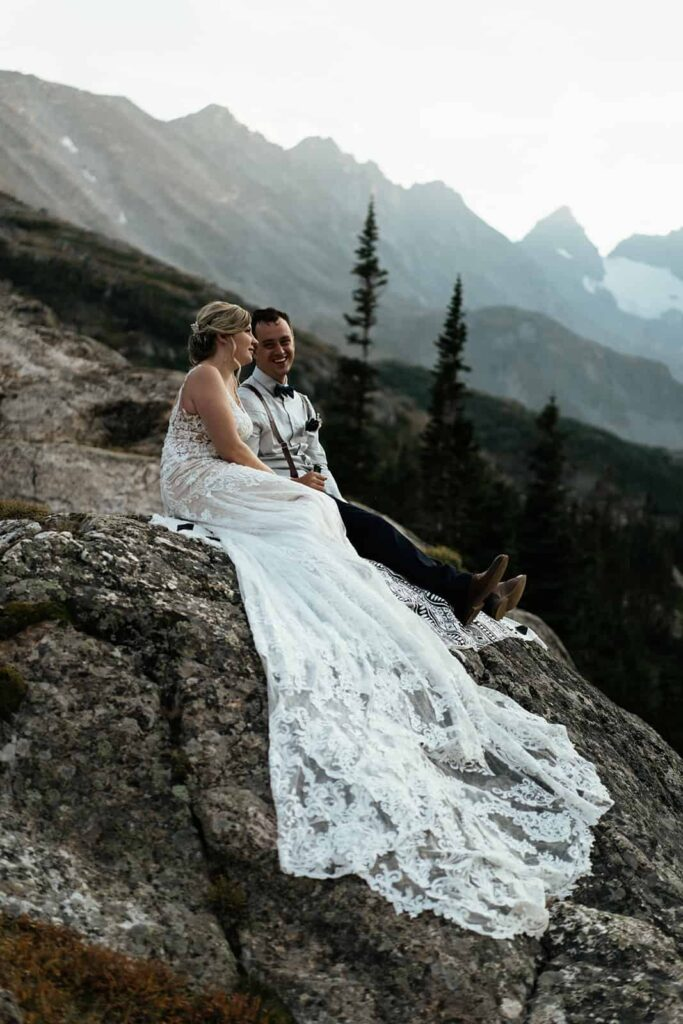 couple enjoying sunset at Colorado elopement