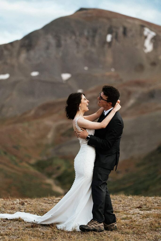 first dance on mountain top at Colorado elopement