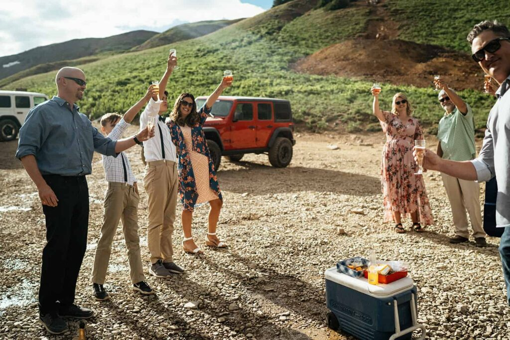 family toasting at Colorado elopement